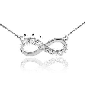 14K White Gold Infinity #1MOM Necklace with Three CZ Birthstones