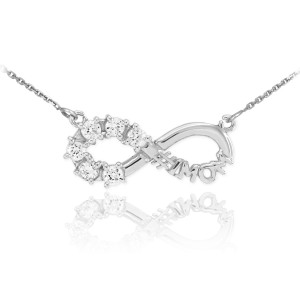 14K White Gold Infinity #1MOM Necklace with Six CZ Birthstones
