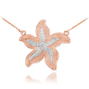 14k Two-Tone Rose Gold Diamond Starfish Necklace