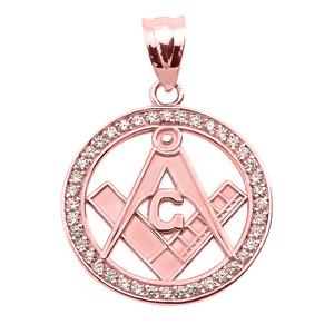 Rose Gold Diamonds Studded Freemason Masonic Pendant