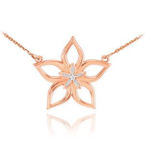 14k Rose Gold Diamond Star Flower Necklace