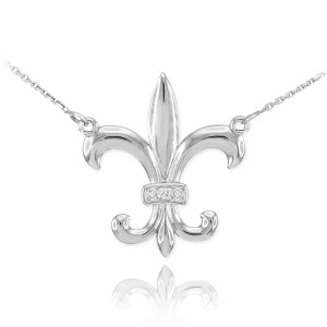 14k White Gold Diamond Fleur-de-Lis Necklace