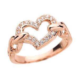 Rose Gold Diamonds Studded Infinity Heart Love Ring