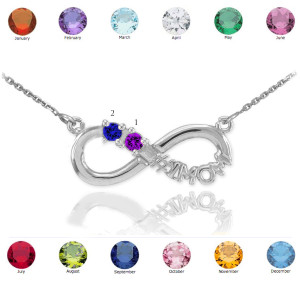 Sterling Silver Infinity #1MOM Necklace with Two CZ Birthstones