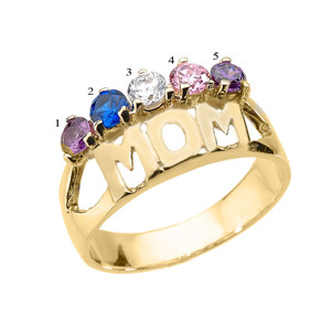 "Yellow Gold ""MOM"" Ring with Five CZ Birthstones"