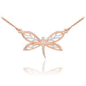 14k Rose Gold Diamond Dragonfly Filigree Necklace