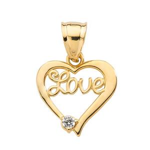 "Yellow Gold ""Love"" Script Diamond Heart Pendant"