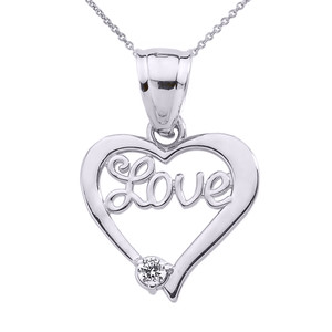 "Sterling Silver ""Love"" Script Diamond Heart Pendant Necklace"