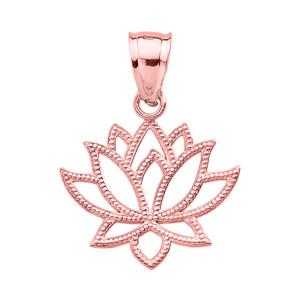 Rose Gold Lotus Flower Pendant Necklace