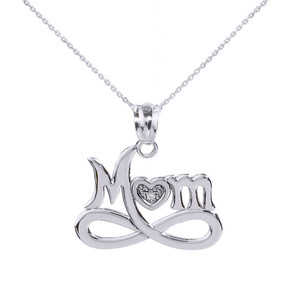 """White Gold Infinity """"MOM"""" Heart with Diamond Pendant Necklace"""