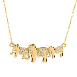 Yellow Gold Diamonds Studded Three Elephant Pendant Necklace