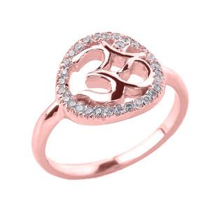 Rose Gold Diamonds Studded Om/Ohm Ring