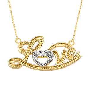 "14k Yellow Gold ""Love"" Script Diamond Pendant Necklace"