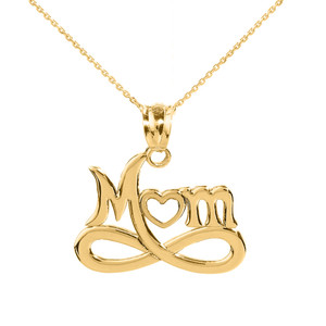 """Yellow Gold Infinity """"MOM"""" Open Heart Pendant Necklace"""