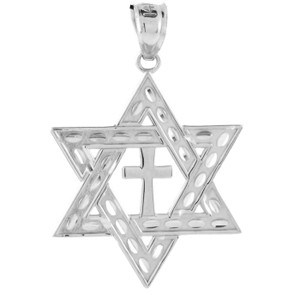 "Sterling Silver Star of David Cross Pendant (M) 1.25"""