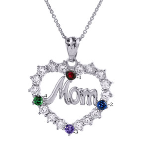 """Sterling Silver """"MOM"""" Open Heart Pendant Necklace with Four CZ Birthstones"""