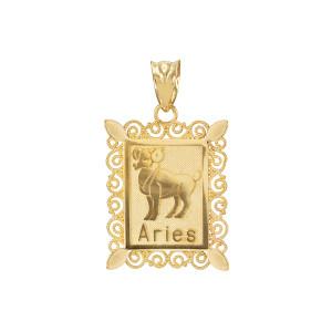 Polished Gold Aries Zodiac Sign Rectangular Pendant Necklace