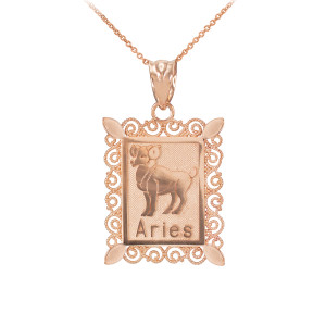 Polished Rose Gold Aries Zodiac Sign Rectangular Pendant Necklace