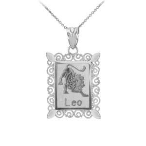 Polished White Gold Leo Zodiac Sign Rectangular Pendant Necklace