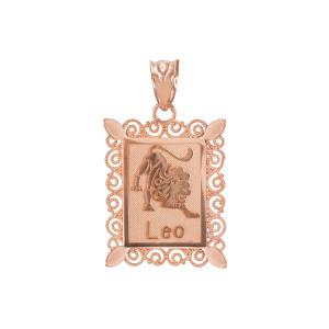 Polished Rose Gold Leo Zodiac Sign Rectangular Pendant Necklace