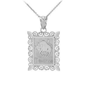 Polished White Gold Taurus Zodiac Sign Rectangular Pendant Necklace