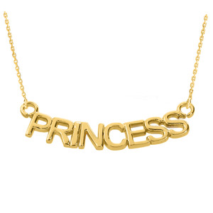 "14K Yellow Gold  ""PRINCESS"" Pendant Necklace"