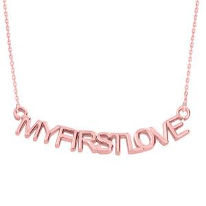 "14K Rose Gold  ""MYFIRSTLOVE"" Pendant Necklace"