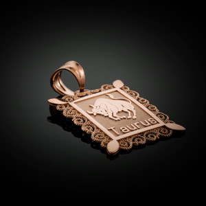 Polished Rose Gold Taurus Zodiac Sign Rectangular Pendant Necklace