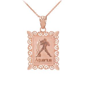 Polished Rose Gold Aquarius Zodiac Sign Rectangular Pendant Necklace