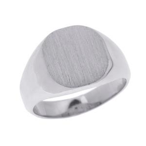 Solid White Gold Engravable Men's Signet Ring