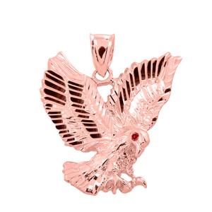 Rose Gold Diamond Cut Landing Eagle Charm Pendant