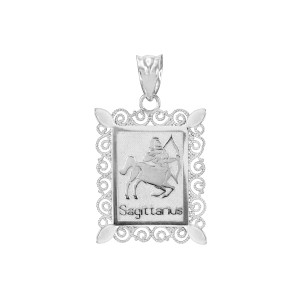White Gold Sagittarius Zodiac Sign Filigree Pendant Necklace