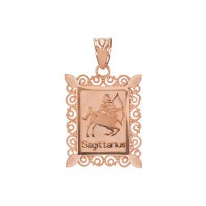 Rose Gold Sagittarius Zodiac Sign Filigree Pendant Necklace