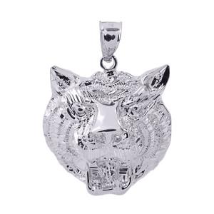 White Gold Diamond Cut Tiger Head Charm Pendant