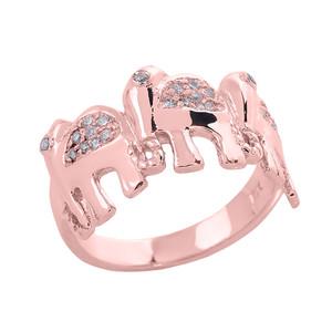 Rose Gold Diamonds Studded Three Elephant Ladies Ring
