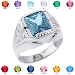 White Gold Gemstone Men's Ring