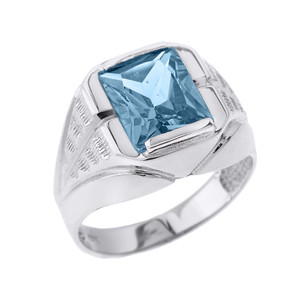 Sterling Silver Aquamarine Gemstone Men's Ring