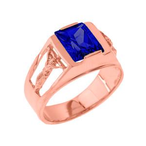 Rose Gold Crucifix Cross Aquamarine Gemstone Men's Ring