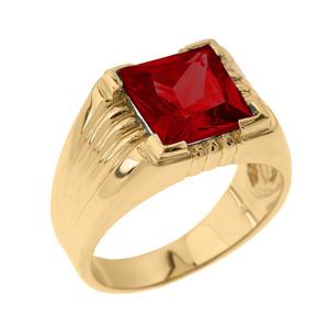 Solid Yellow Gold Aquamarine Gemstone Men's Ring
