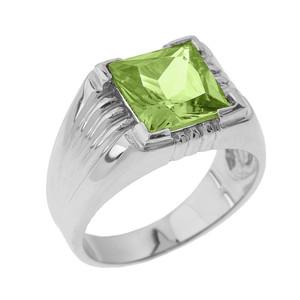 Solid White Gold Aquamarine Gemstone Men's Ring