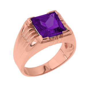 Solid Rose Gold Aquamarine Gemstone Men's Ring
