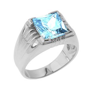 Sterling Silver Aquamarine Gemstone Men's Statement Ring