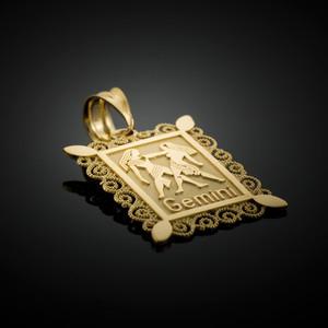 Gold Gemini Zodiac Sign Filigree Square Pendant Necklace