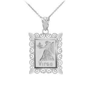 White Gold Virgo Zodiac Sign Filigree Square Pendant Necklace