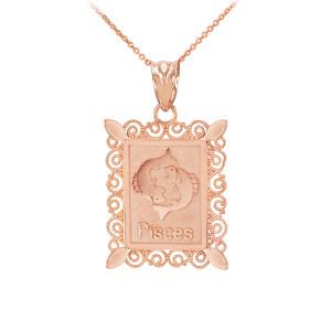 Rose Gold Pisces Zodiac Sign Filigree Square Pendant Necklace