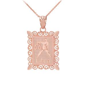 Rose Gold Libra Zodiac Sign Filigree Square Pendant Necklace