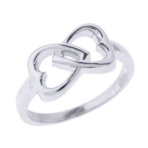 White Gold Infinity Double Heart Ring