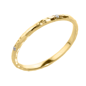 Yellow Gold 2 mm Hammered Stackable Diamond Ring