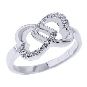 White Gold Infinity Double Heart Diamond Promise Ring