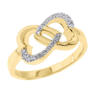 Yellow Gold Infinity Double Heart CZ Promise Ring